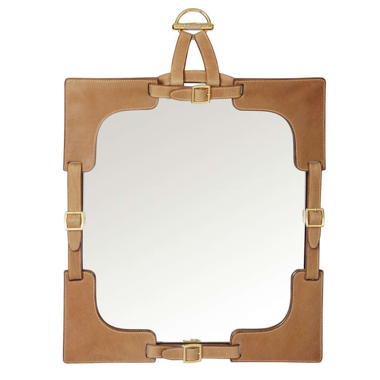 Gucci Leather and Brass Buckled Mirror at 1stdibs