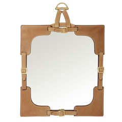 Gucci Leather and Brass Buckled  Mirror