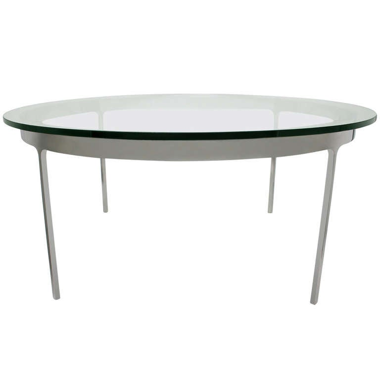 Round Chrome And Glass Coffee Table By Nicos Zographos At 1stdibs