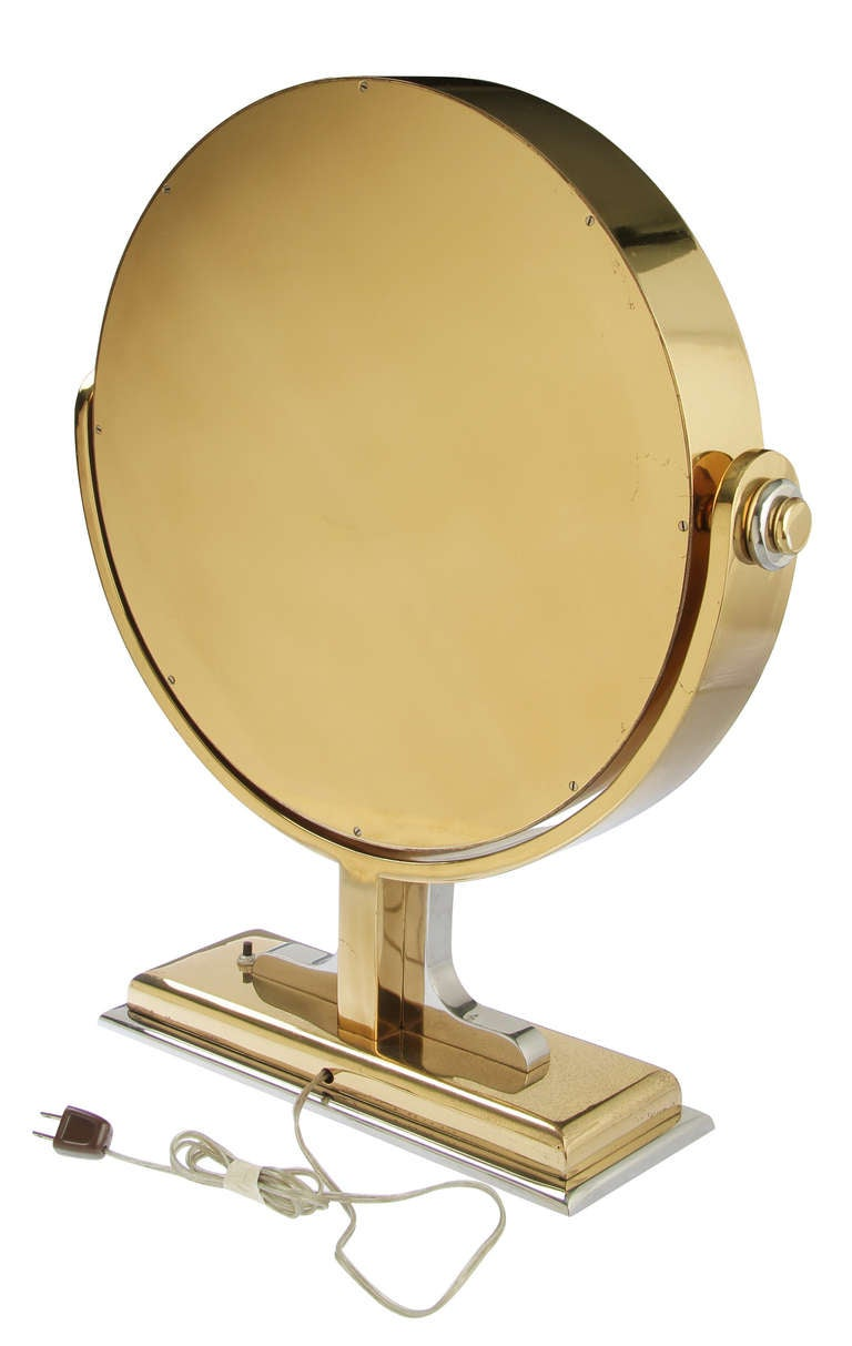 Very large karl springer vanity mirror with light at 1stdibs for Large vanity mirror