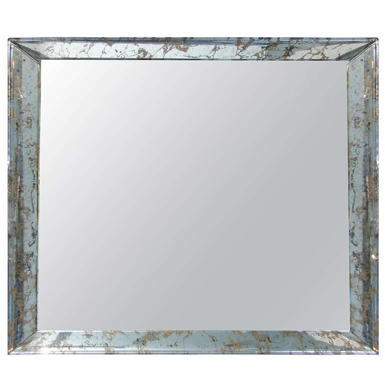 Large Mid Century Mirror With Modern Eglomise Mirrored