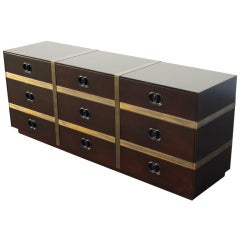 1960's Chest of Drawers by Heritage with brass straps