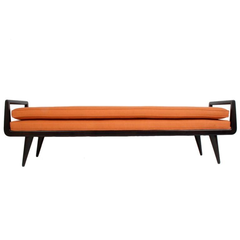 Mid Century Modern Mahogany Bench With Burnt Orange