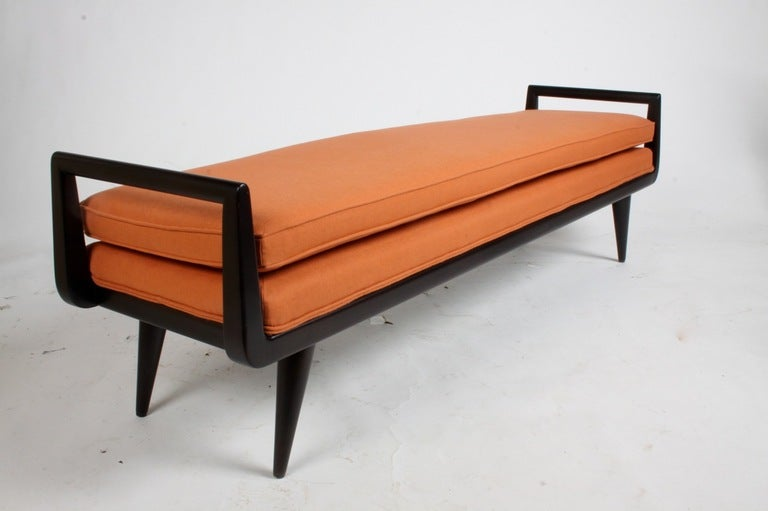 Mid Century Modern Mahogany Bench With Burnt Orange Upholstery At 1stdibs