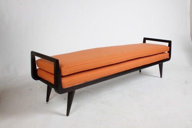 mid century modern mahogany bench with burnt orange upholstery image 7