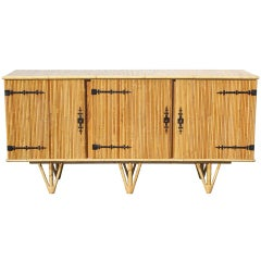 Jean Royere Style French Bamboo Sideboard