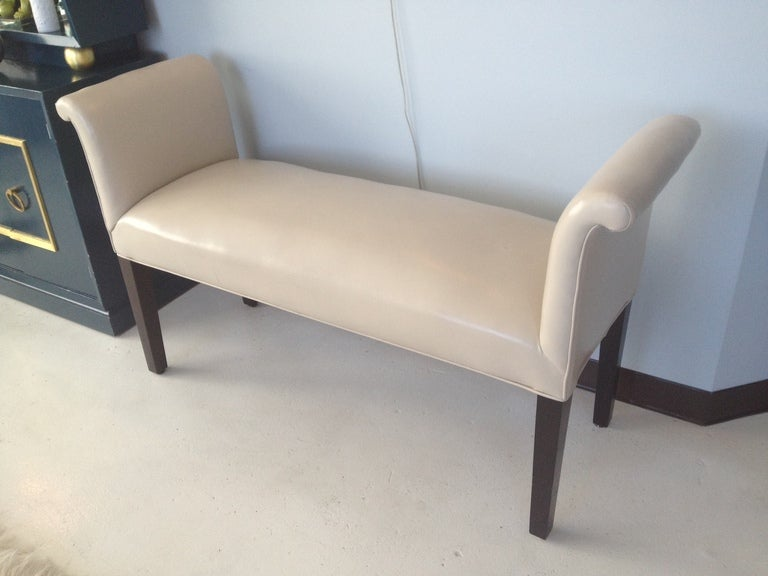 Hollywood Regency 1940s Bench with Scroll Arms For Sale
