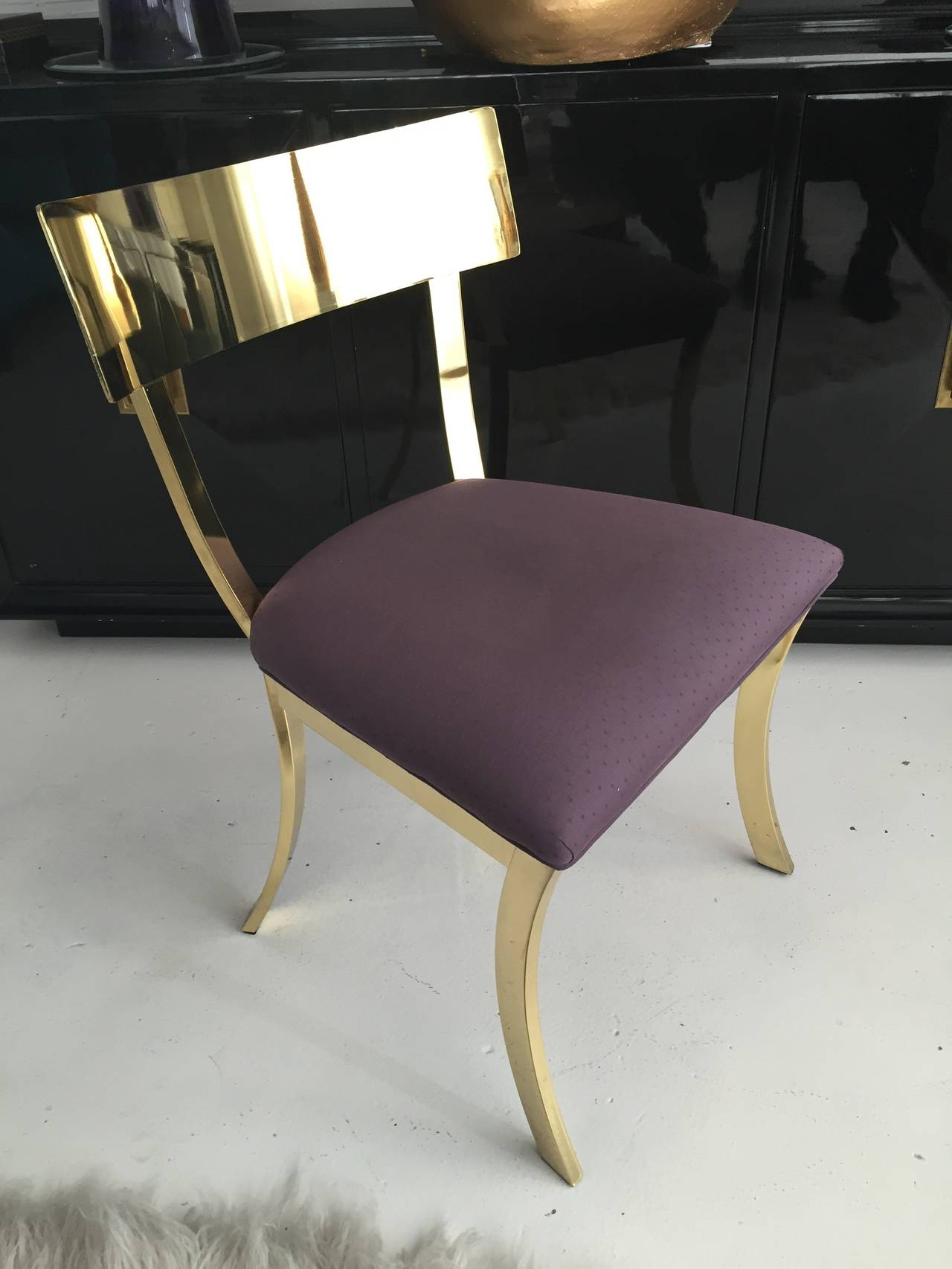 Stunning Polished Brass Klismos Chair by DIA 2