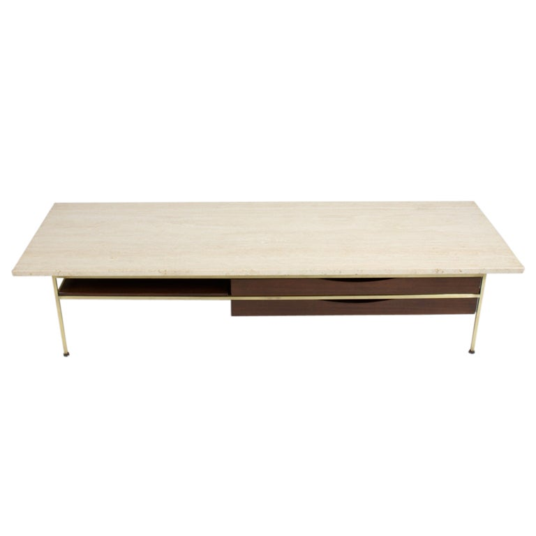 Paul Mccobb Travertine Top Coffee Table At 1stdibs