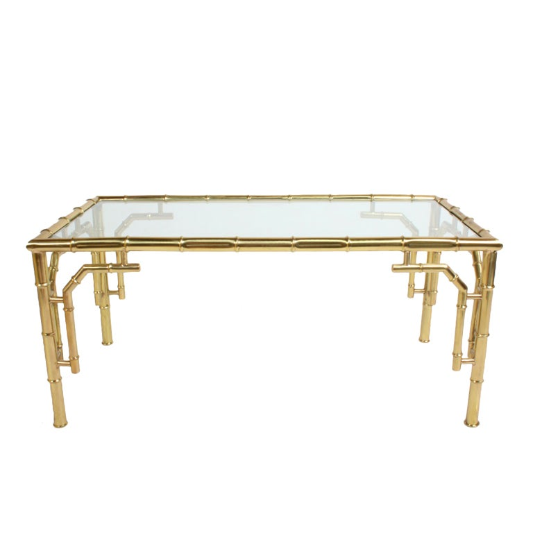 Italian Brass Faux Bamboo Coffee Table At 1stdibs