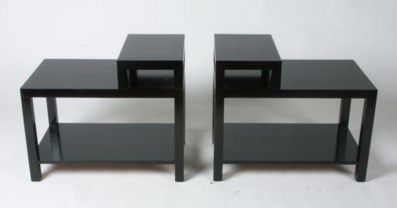 Pair of Dark Espresso stepped end tables with lower shelf designed by T.H. Robsjohn-Gibbings for Widdicomb, dated 1949, Widdicomb label. Mid-Century Modern.