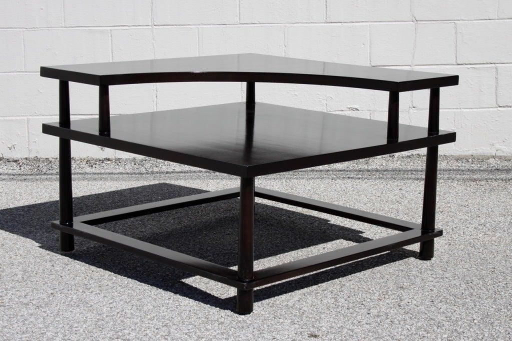 Walnut corner table with dark brown finish, circa 1950s.