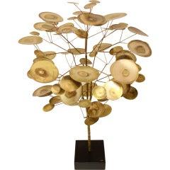 Curtis Jere 1968 Brass Rain Drop Tree Sculpture