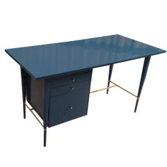 Paul McCobb Lacquered desk in deep Turquoise