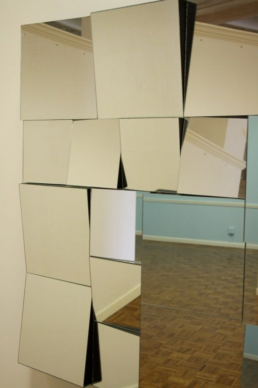 Large neal small cubist wall mirror at 1stdibs for Small wall mirrors for sale