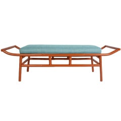 1950's chinese orange-red lacquered Pagoda shaped bamboo bench