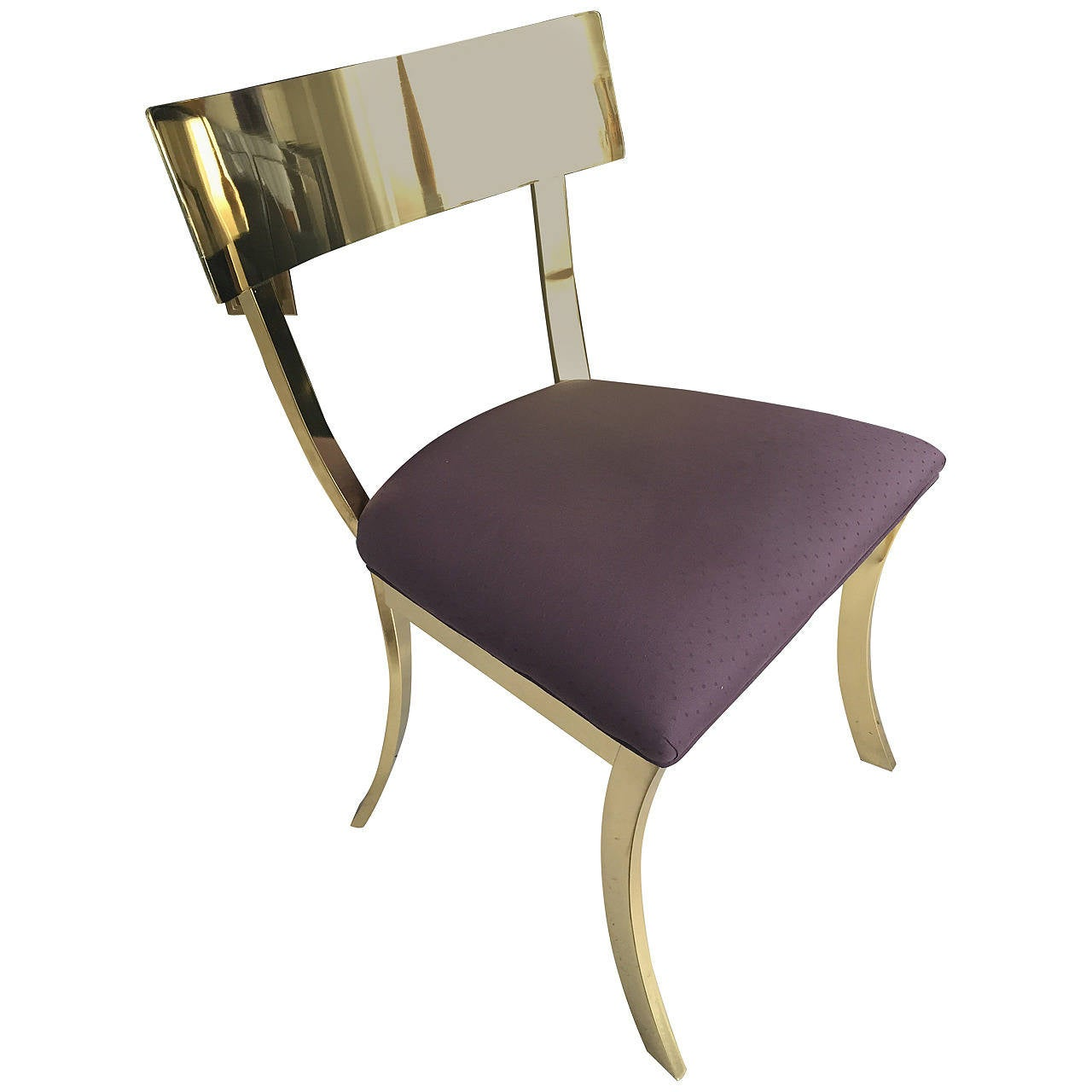 Stunning Polished Brass Klismos Chair by DIA at 1stdibs