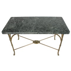 Italian Marble Top Faux Bamboo Bronze Coffee Table
