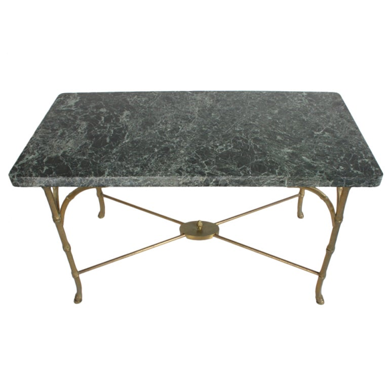 Italian Marble Top Faux Bamboo Bronze Coffee Table At 1stdibs