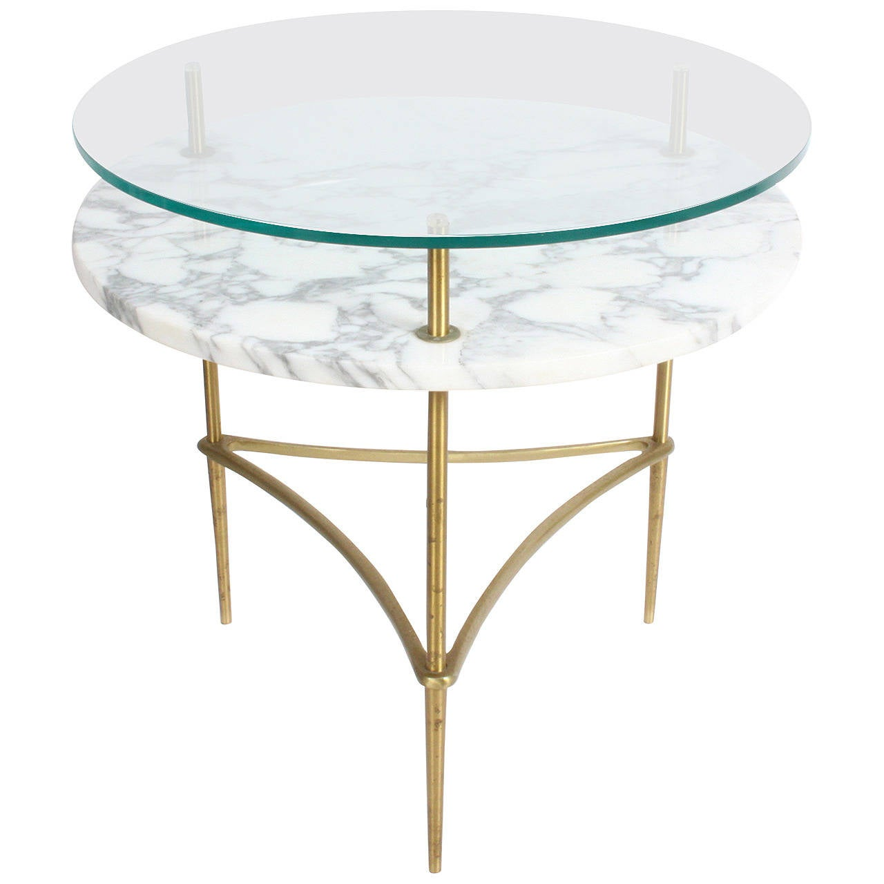 Two Tiered Brass And Glass Coffee Table: Mid-Century Italian Two-Tiered Occasional Table In Brass