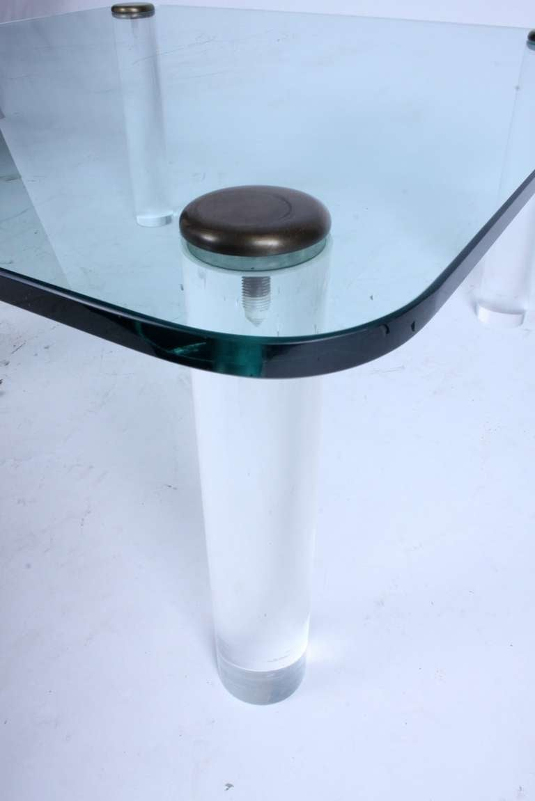 American Pace, 1970s Lucite Leg Cocktail Table with Glass Top and Brass Caps For Sale