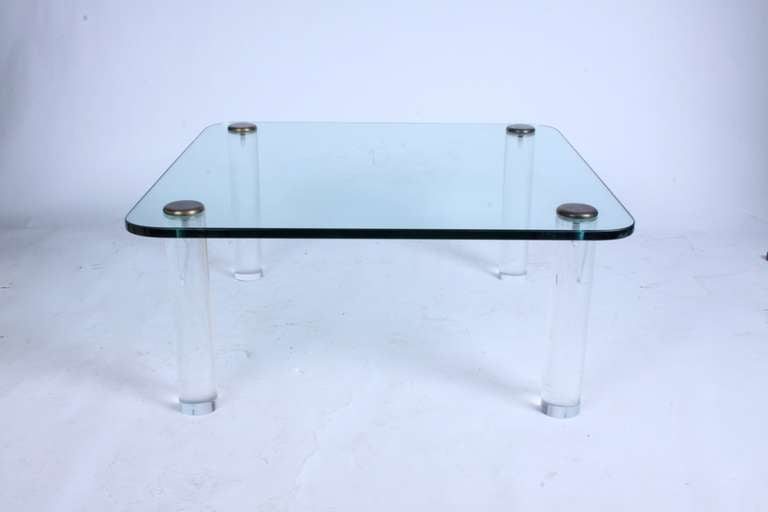 Pace, 1970s Lucite Leg Cocktail Table with Glass Top and Brass Caps In Good Condition For Sale In St. Louis, MO