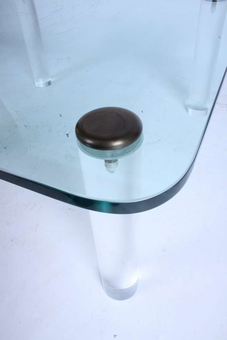 Mid-Century Modern Pace, 1970s Lucite Leg Cocktail Table with Glass Top and Brass Caps For Sale