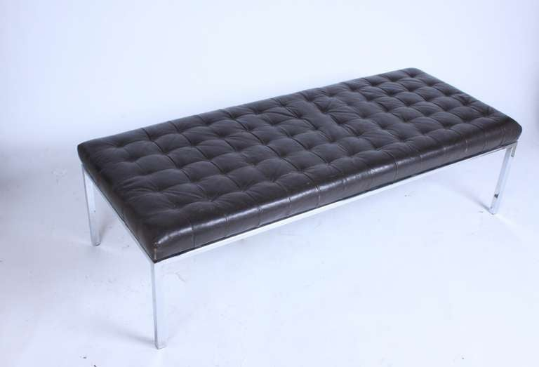 International Style Museum Bench by Metropolitan, San Francisco with Brown Tufted Leather Seat For Sale