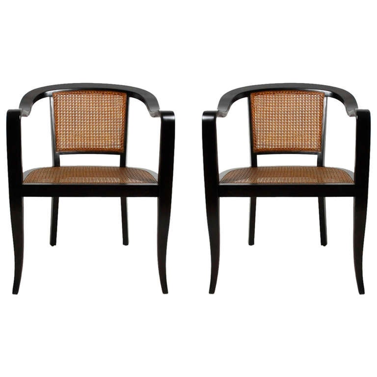 Pair of Edward Wormley for Dunbar Style Caned Chairs