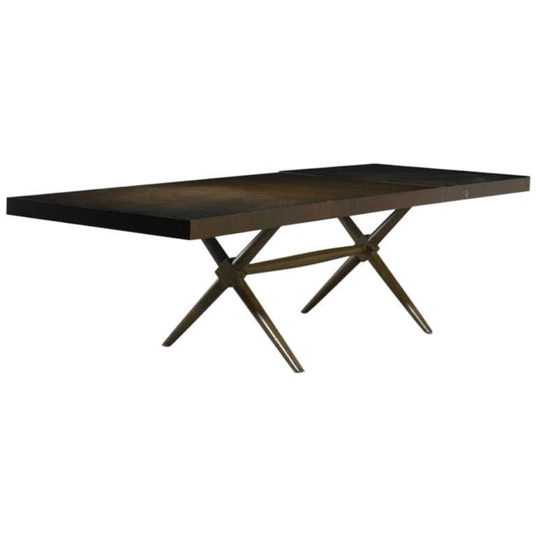 T H Robsjohn Gibbings X Base Trestle Dining Table For Widdicomb 1