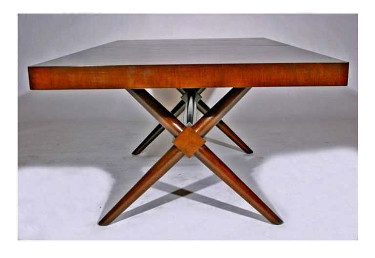 T H Robsjohn Gibbings X Base Trestle Dining Table For Widdicomb 3