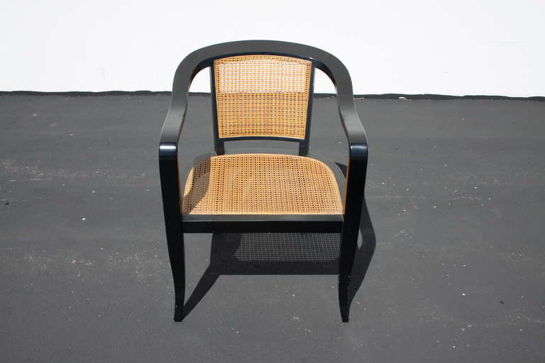 Mid-Century Modern Pair of Edward Wormley for Dunbar Style Caned Chairs