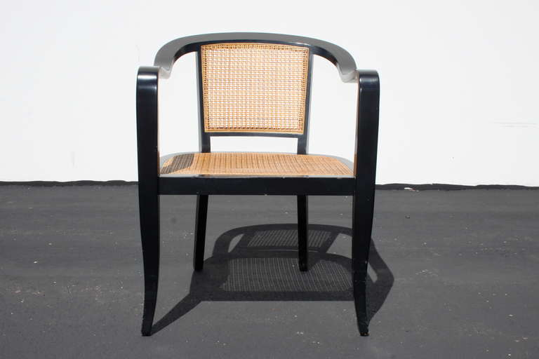 American Pair of Edward Wormley for Dunbar Style Caned Chairs