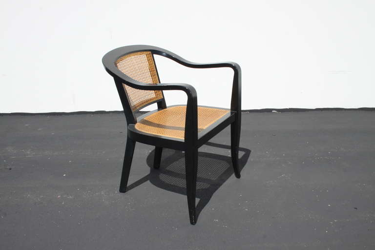 Pair of Edward Wormley for Dunbar Style Caned Chairs In Excellent Condition In St. Louis, MO