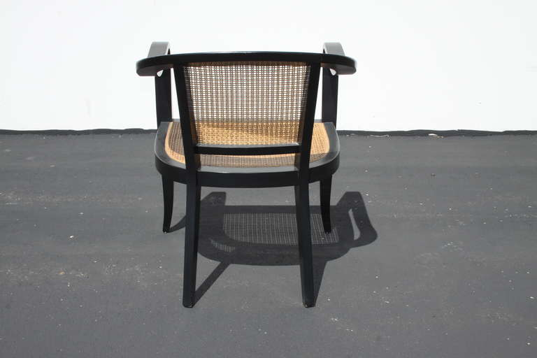 Wood Pair of Edward Wormley for Dunbar Style Caned Chairs