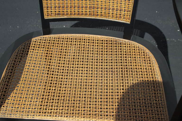 Pair of Edward Wormley for Dunbar Style Caned Chairs 3