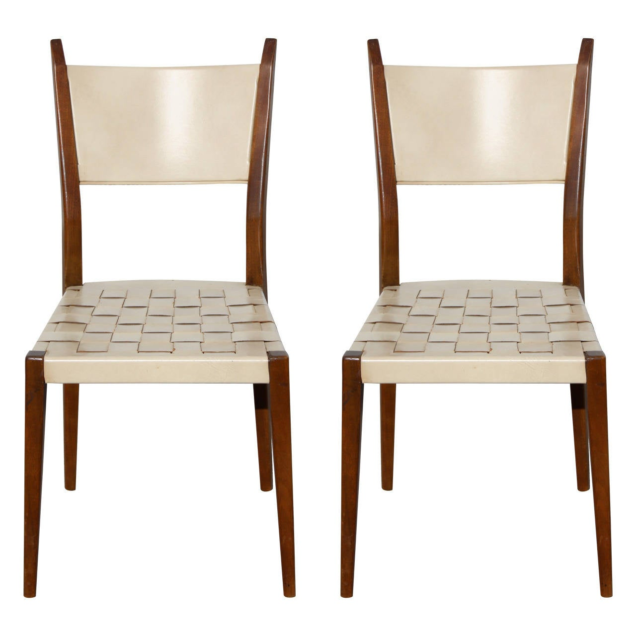 Pair of Paul McCobb Side Chairs with Leather Woven Strap