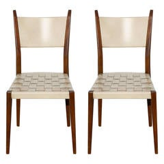 Pair of Paul McCobb Side Chairs with Leather Woven Strap Seats