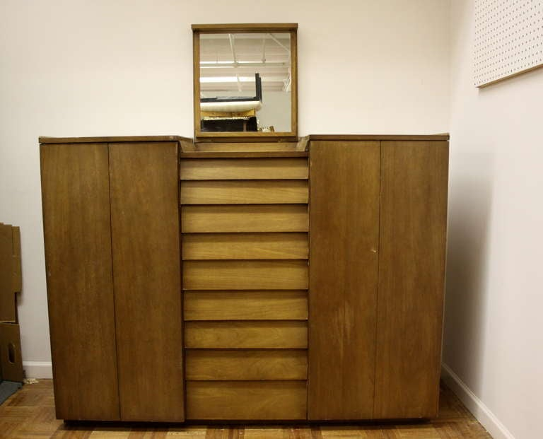 Midcentury chest with flip-top mirror, drawers in center, flanked by two cabinet doors, in bleached mahogany, currently being refinished (can change finish color if desired).
