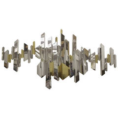 C. Jere Cityscape Abstract Art Wall Sculpture in Brass and Chrome