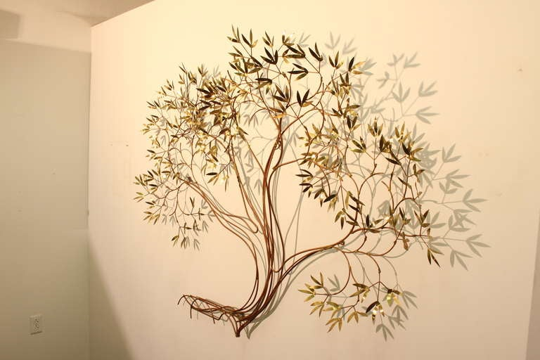 Large Curtis Jere Tree Wall Mounted Sculpture at 1stdibs