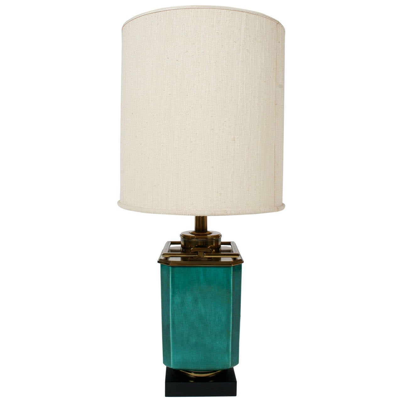 Stiffel Green Ceramic Table Lamp with Brass Fittings