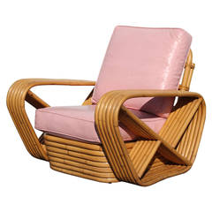 Paul Frankl Style Six Band Arm Rattan Lounge Chairs