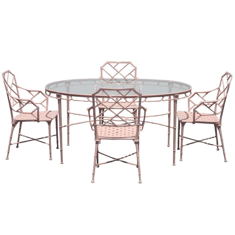 chinese chippendale brown jordan patio set 6 chairs u0026 oval table 1