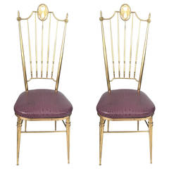 Two Tall Back Brass Italian Side Chairs with Aubergine Crocodile Leather Seats