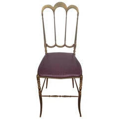 Brass Italian Chiavari Chair with Aubergine Crocodile Leather