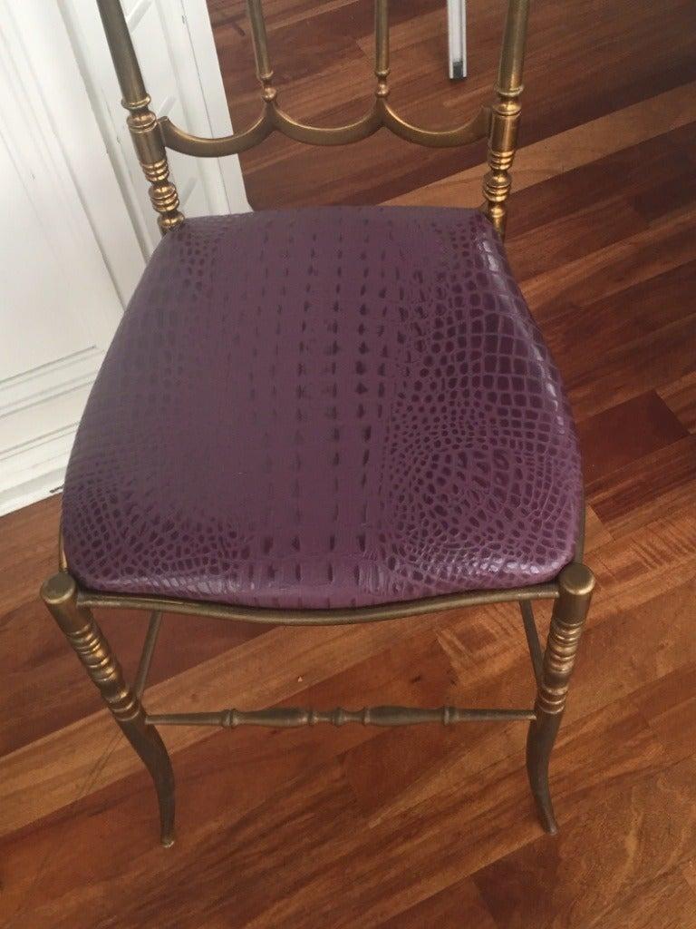 Brass Italian Chiavari Chair with Aubergine Crocodile Leather 2