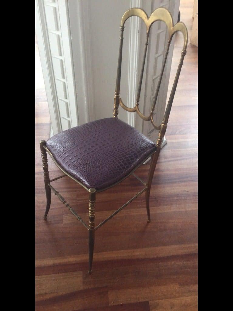 Brass Italian Chiavari Chair with Aubergine Crocodile Leather 6