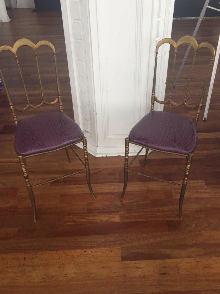 Brass Italian Chiavari Chair with Aubergine Crocodile Leather For Sale 3