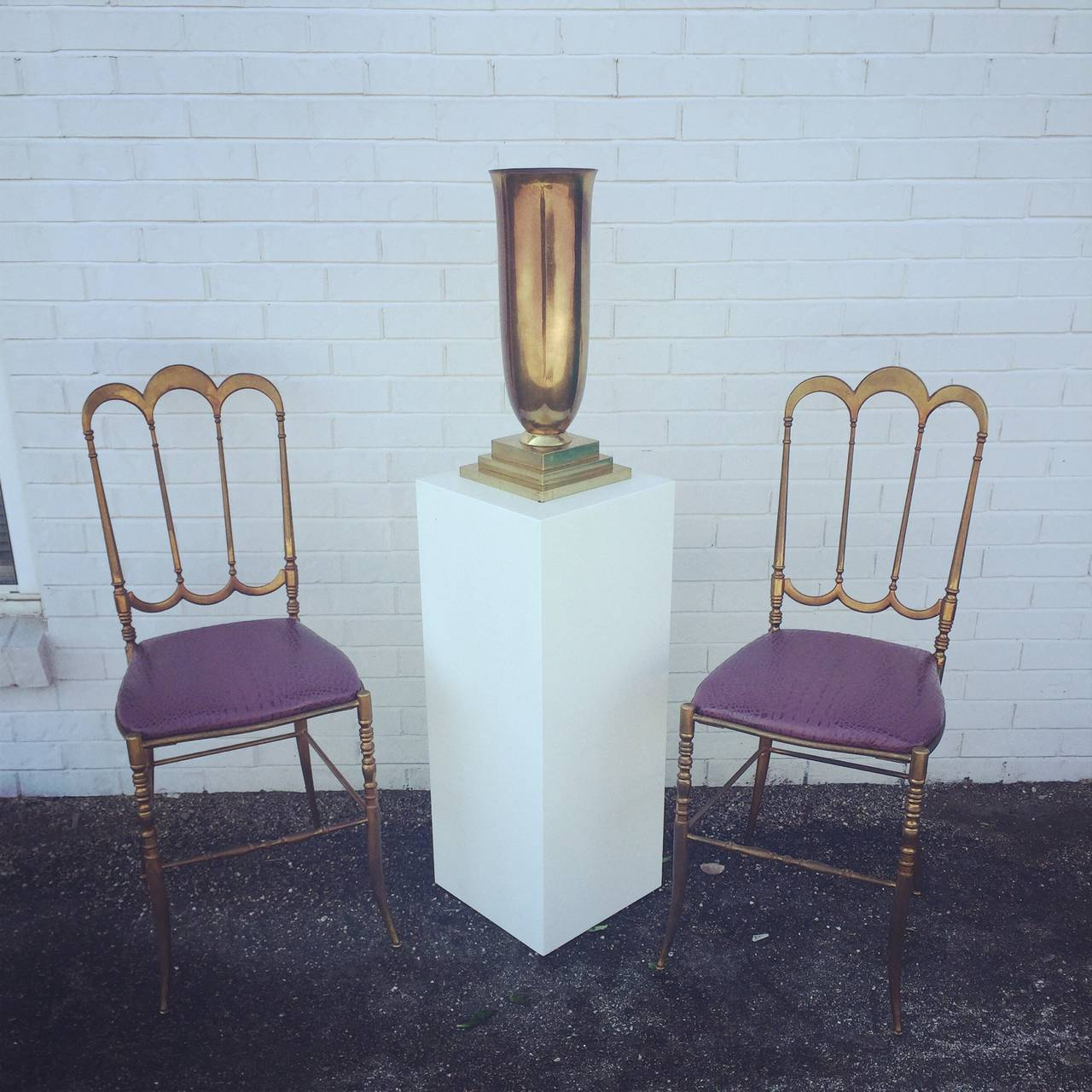 Brass Italian Chiavari Chair with Aubergine Crocodile Leather 4